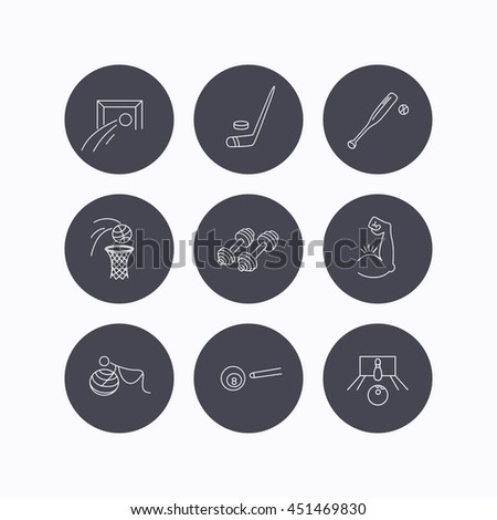 Football, ice hockey and fitness sport icons. Basketball, muscle and bowling linear signs. Billiards and gymnastics for pregnant icons. Flat icons in circle buttons on white background.  - stock photo