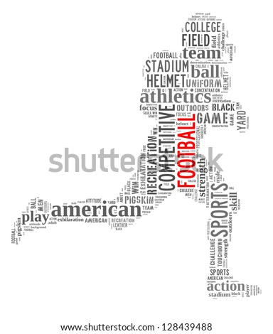 Football info-text graphic and arrangement concept on white background (word cloud) - stock photo