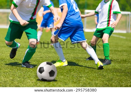 Football match for children. Training and football soccer competition tournament  - stock photo