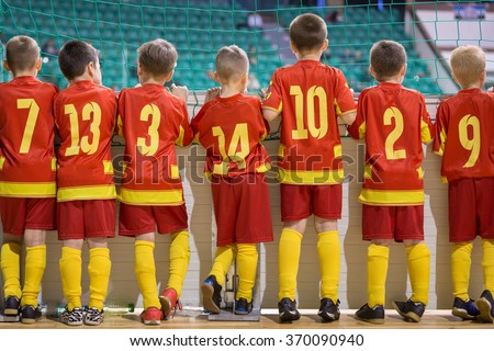 Football match for children. Training and football soccer tournament. Sports youth teams competition. - stock photo