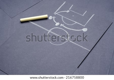 Football match tactical plan for attacking: Hand drawing with chalk on the black project paper - stock photo