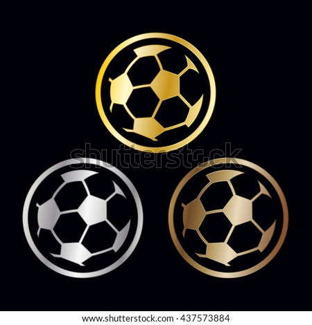 Football medals or award ribbons for winners with a crown over a soccer ball and ribbon in gold, silver and bronze for first second and third placements, illustration - stock photo