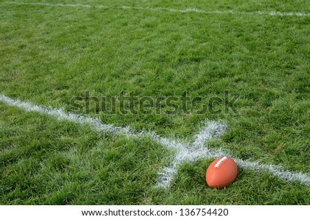 Football Near Hash Mark American Football on Natural Grass Turf - stock photo