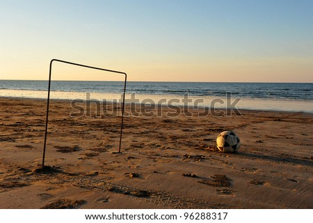 Football on an Omani beach - stock photo