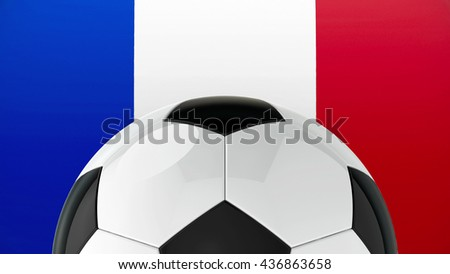 Football on Flag of France, represents Euro 2016 - France football championship, three-dimensional rendering, 3D illustration - stock photo