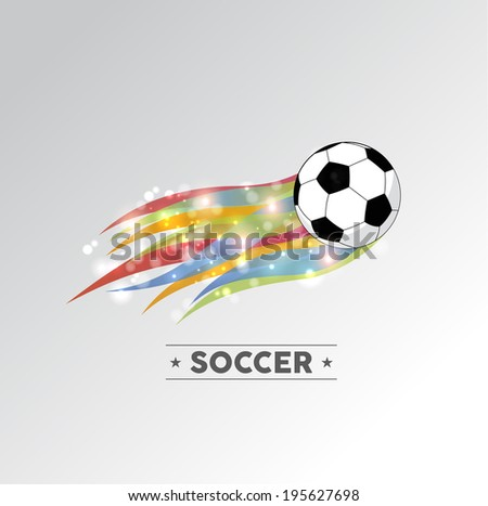 Football or soccer ball in color flames design element. - stock photo