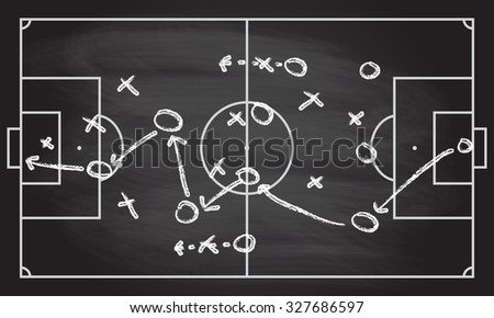 Football or soccer game strategy plan on blackboard texture with chalk rubbed background. Sport infographics element.