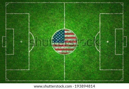Football pitch with USA flag. - stock photo