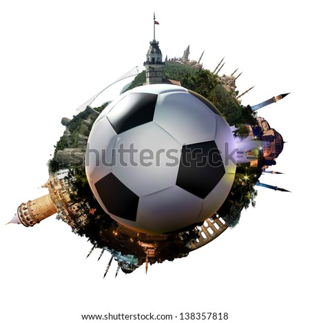 Football planet of Istanbul - symbolic illustration of Istanbul, Turkey, built on a soccer football, with all important buildings and attractions of the city - stock photo