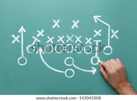 Football play drawn on Green Chalk Board with Hand. - stock photo