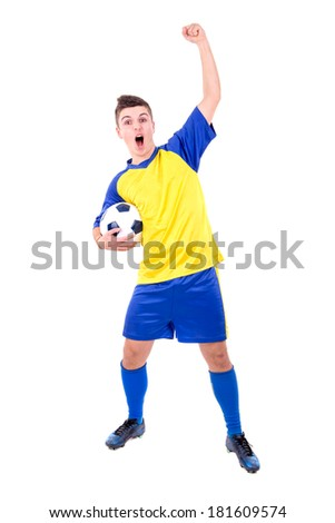 Football player celebrating a goal isolated in white