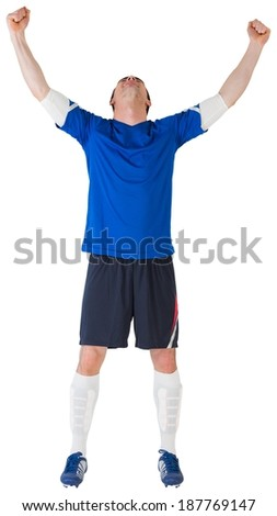 Football player celebrating a win on white background