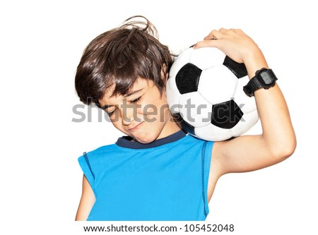 Football player celebrating victory, cute little boy playing, kid enjoying team game, teen holding catching ball, happy child facial expression, sport fan portrait isolated on white background - stock photo