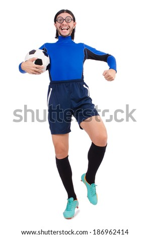 Football player isolated on the white background - stock photo