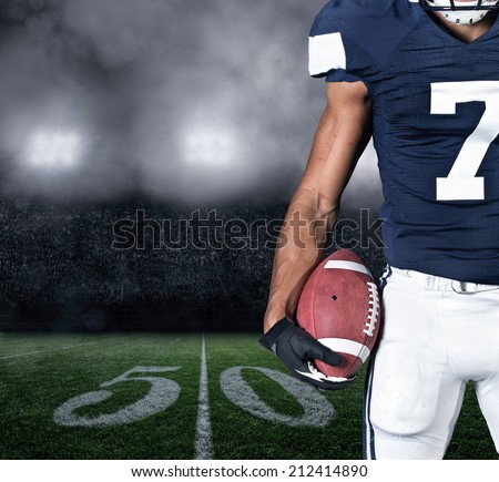 Football Player on at the Stadium. Close up view - stock photo