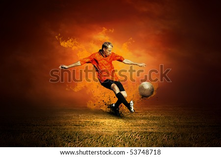 Football player on the field and fire - stock photo