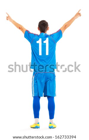 football player on white background - stock photo