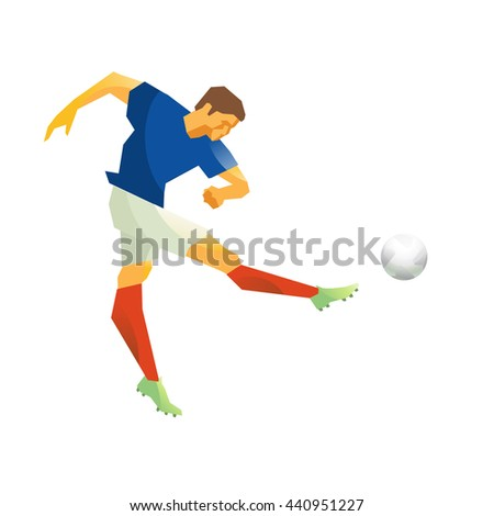 Football player, striking the ball with his foot. Isolated.