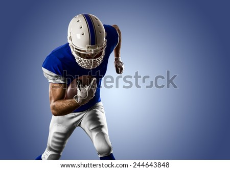 Football Player with a blue uniform Running on a blue background.