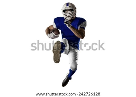 Football Player with a blue uniform Running on a white background.