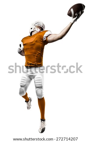 Football Player with a orange uniform making a catching on a white background.