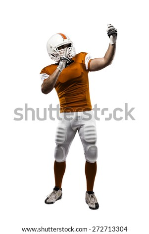 Football Player with a orange uniform making a selfie on a white background.
