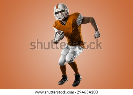 Football Player with a orange uniform Running on a orange background.