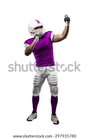 Football Player with a pink uniform making a selfie on a white background.