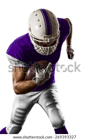 Football Player with a purple uniform Running on a white background.