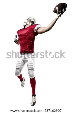 Football Player with a red uniform making a catching on a white background.