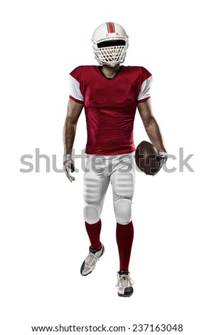 Football Player with a red uniform on a white background.