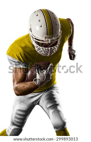 Football Player with a yellow uniform Running on a white background.