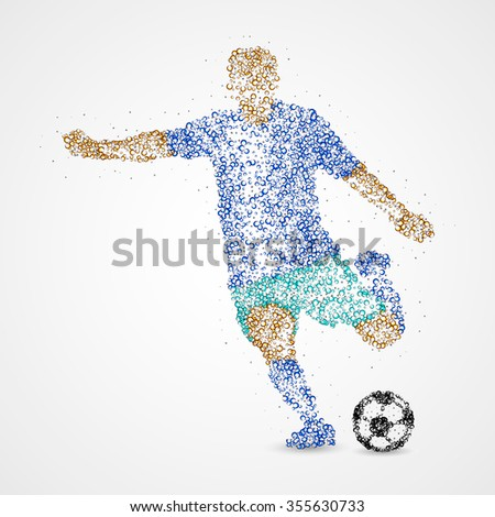 Football player with the ball circles. Photo illustration.