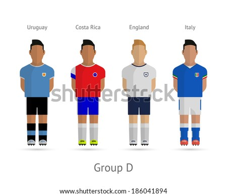 Football players. Group D - Uruguay, Costa Rica, England, Italy. See also vector version. - stock photo