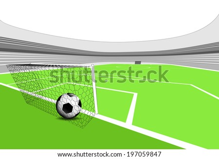 football playground scene with goal score with empty stadium illustration