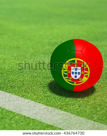 Football Portugal flag soccer game on grass soccer field,3D Rendering.