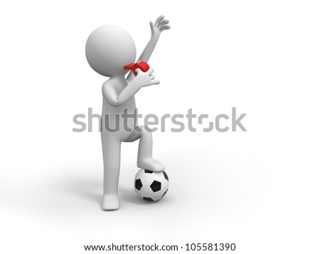 Football Referee/A man is blowing the whistle - stock photo