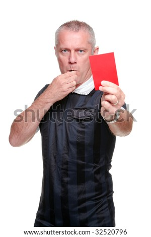 Football referee showing you the red card, isolated on a white background. - stock photo
