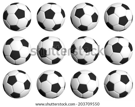 Football rotation poses 30 degrees each on white - stock photo