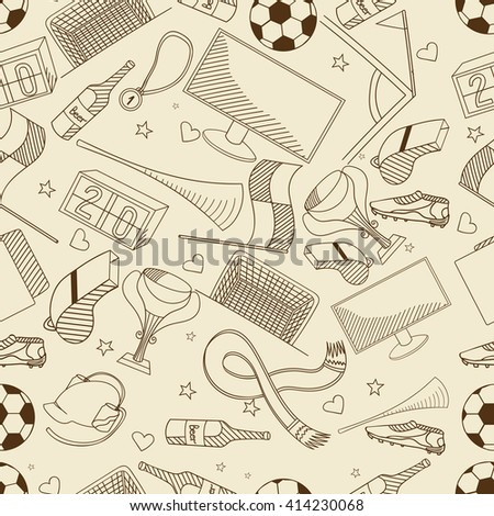 Football seamless retro line art design raster illustration. Separate objects. Hand drawn doodle design elements.