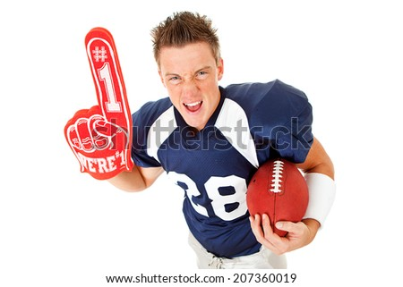 Football: Serious Player Cheers With #1 Foam Finger And Ball