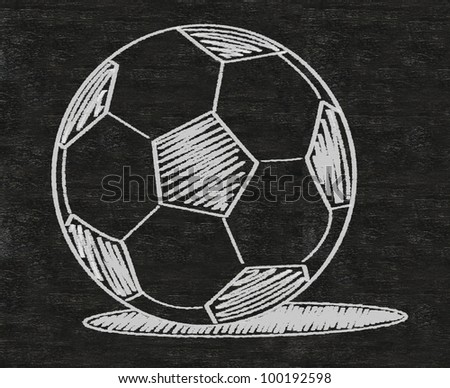 football sketch with shadow written on blackboard background high resolution - stock photo