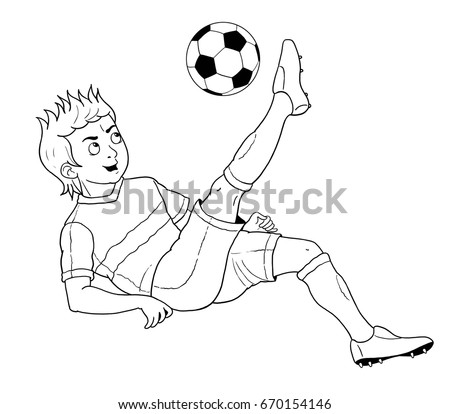 Football soccer a cute footballer coloring book coloring page funny cartoon