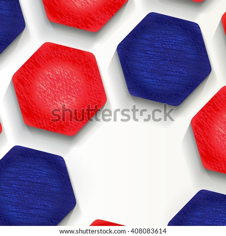football (soccer) background in the colors of the France flag, cover.