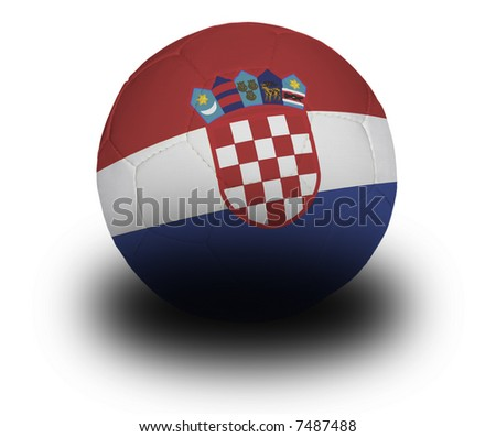 Football (soccer ball) covered with the Croatian flag with shadow on a white background.  Clipping path included. - stock photo