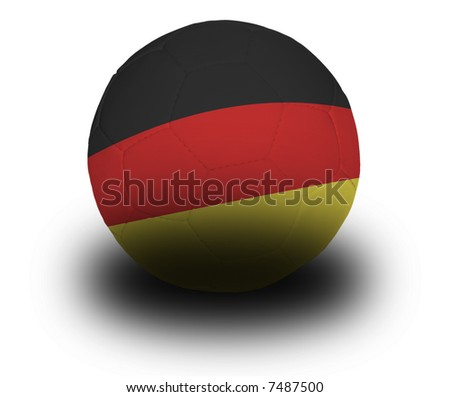 Football (soccer ball) covered with the German flag with shadow on a white background.  Clipping path included. - stock photo