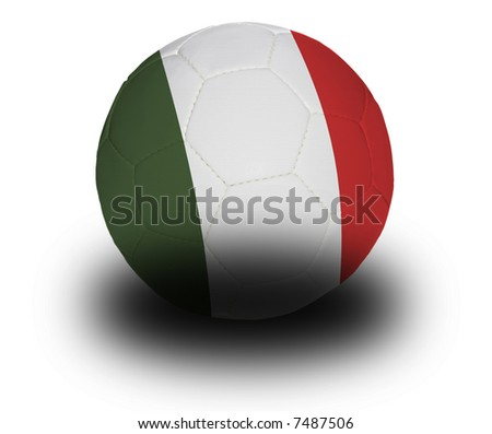 Football (soccer ball) covered with the Italian flag with shadow on a white background.  Clipping path included. - stock photo