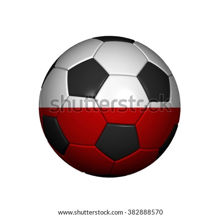 Football (soccer ball) covered with the Polish flag