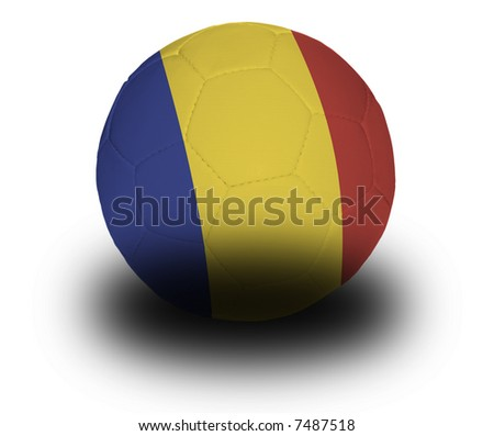 Football (soccer ball) covered with the Romanian flag with shadow on a white background.  Clipping path included. - stock photo