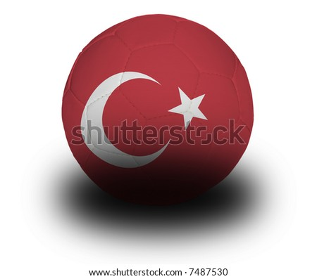 Football (soccer ball) covered with the Turkish flag with shadow on a white background.  Clipping path included. - stock photo